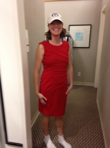 A form-fitting cut RED DRESS